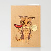 cheshire cat Stationery Cards featuring Cheshire Cat by baba yagada