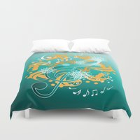 music notes Duvet Covers featuring Music Notes  by HK Chik