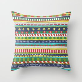 hand drawn christmasy striped pattern Throw Pillow