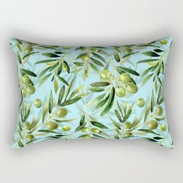 mediterranean summer olive branches on turquoise Rectangular Pillow