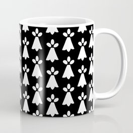 White and Black Ermine Spots Patterned Print Coffee Mug