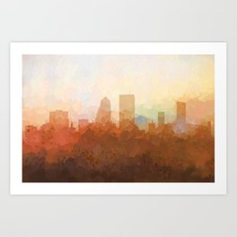 Jacksonville, Florida Skyline - In the Clouds Art Print