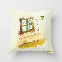apple Throw Pillows featuring Apple! by Pepan