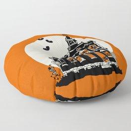 Vintage Style Haunted House - Happy Halloween Floor Pillow
