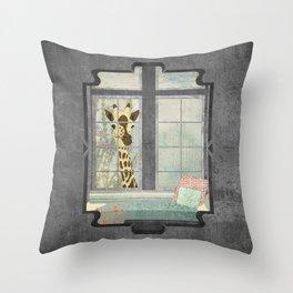 Bay Window Giraffe Throw Pillow