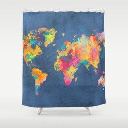 world map blue 2061 #map #worldmap Shower Curtain