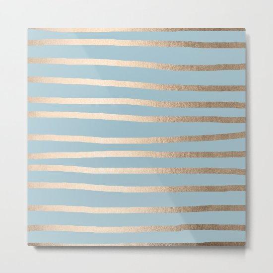 Abstract Drawn Stripes Gold Tropical Ocean Sea Blue Metal Print