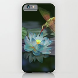 Lotus and hummingbird iPhone Case