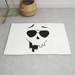 Funny Halloween Face with Sunglasses Rug