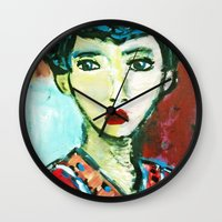 matisse Wall Clocks featuring LADY MATISSE IN TEEN YEARS by JANUARY FROST