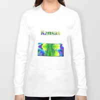 kansas Long Sleeve T-shirts featuring Kansas Map by Roger Wedegis