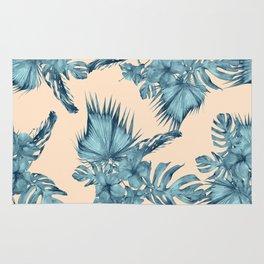 Island Retreat Hibiscus Palm Pastel Coral Teal Blue Rug