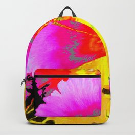 MODERN ART YELLOW BUTTERFLIES & FUCHSIA PINK FLOWERS Backpack