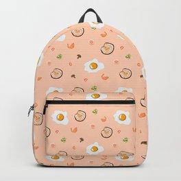Seamless vector flat lay pattern of food ingredients variety Backpack