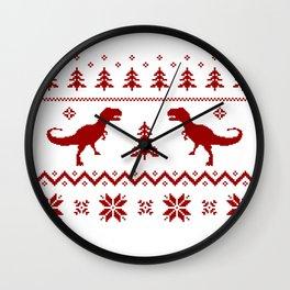 Christmas ugly sweater pattern dinosaur Wall Clock