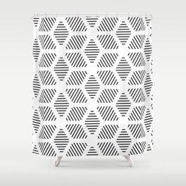 Geometric Line Lines Diamond Shape Tribal Ethnic Pattern Simple Simplistic Minimal Black and White Shower Curtain