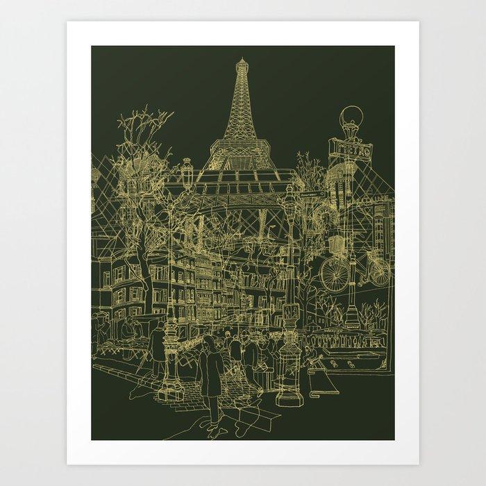 Paris! Olive Art Print