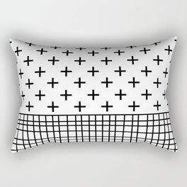 Crosses, Criss Cross, Black and White Modern Rectangular Pillow