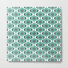 Mint and Grey Ikat Ogee Pattern Metal Print