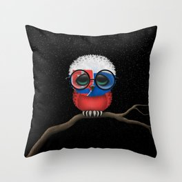 Baby Owl with Glasses and Slovakian Flag Throw Pillow