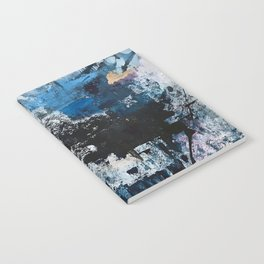 Breathe: colorful abstract in black, blue, purple, gold and white Notebook