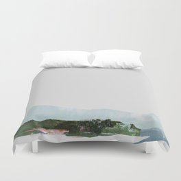 Mountain Vista with Big Sky and River, Winterscape Duvet Cover