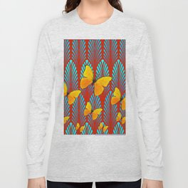 YELLOW ART DECO BUTTERFLIES & CUMIN COLOR ART Long Sleeve T-shirt