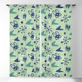 Mid Century Modern Atomic Boomerang Pattern Green Blue 105 Blackout Curtain