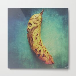 Viking Skull Banana Metal Print