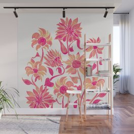 Sunflower Watercolor – Pink Palette Wall Mural