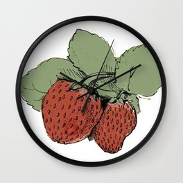 Two Strawberries Wall Clock