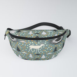 Winter pattern with deer, bears and dots Fanny Pack