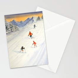 Skiing Family On The Slopes Stationery Cards