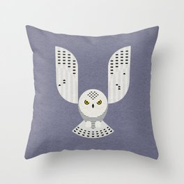 Snowy Owl in Flight Throw Pillow