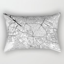Bucharest White Map Rectangular Pillow