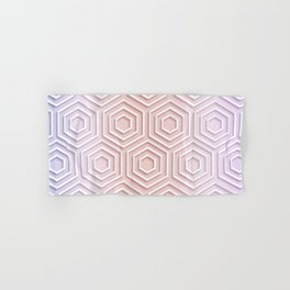 3D Hexagon Gradient Minimal Minimalist Geometric Pastel Soft Graphic Rose Gold Pink Hand & Bath Towel