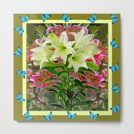 BUTTERFLIES PURPLE & WHITE LILIES AVOCADO FLORAL Metal Print