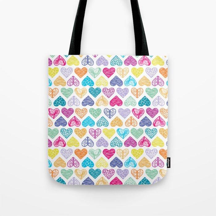 Rainbow Wild Hearts Tote Bag