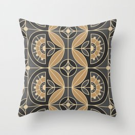 Art Deco Tile Floral 2 (gray and sand) Throw Pillow