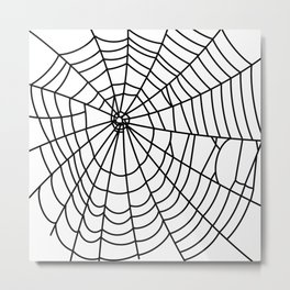 black spider on white background Metal Print