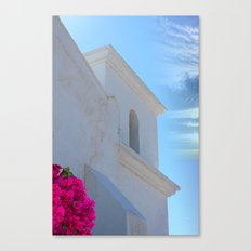 Architectural Detail of White Stucco Colonial Church in Arizona Canvas Print