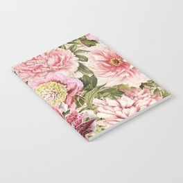 Vintage & Shabby Chic Floral Peony & Lily Flowers Watercolor Pattern Notebook