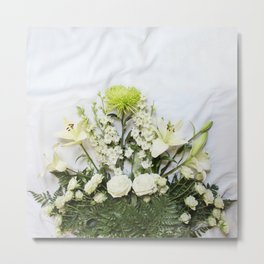 Green and Cream Flowers Metal Print