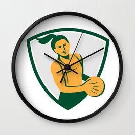 Netball Player Holding Ball Retro Wall Clock