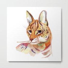 Serval wild cat watercolor Metal Print