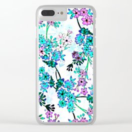 Turquoise Lavender Floral Clear iPhone Case