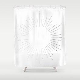 Sunburst Moonlight Silver on White Shower Curtain