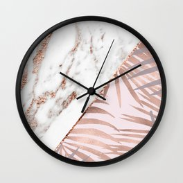Rose gold marble & tropical ferns Wall Clock