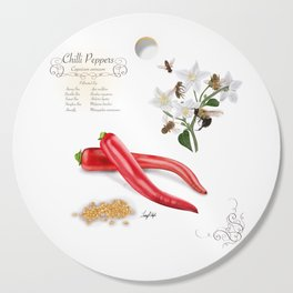 Chilli Peppers and Pollinators Cutting Board