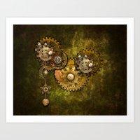 wall clock Art Prints featuring Clock Wall 2 by Deborah DaNaan